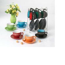 230cc taza de café y platillo con estante de metal para BS12012