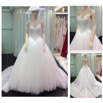 Factory Customized Dresses Design Sweetheart Cristal White Tulle Empire V-Waist Lace-Up Back Ball Gown Wedding Gowns 2015 A137