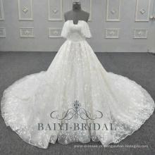 Nova saia de vestido de noiva de padrão de renda sob o vestido de noiva sem alças Bling 2018 coleções