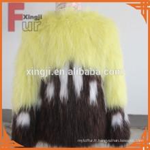 Manteau en fourrure de raton laveur tricoté