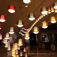 Lámpara de araña de lujo moderna de gran restaurante de luz de cadena personalizada