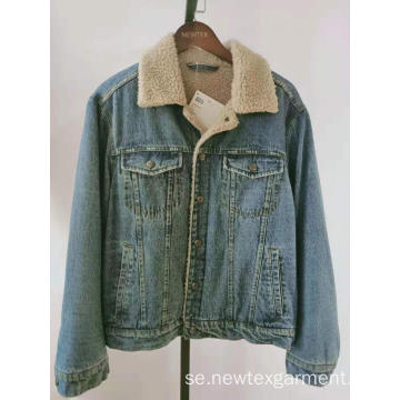 denim berber fleece krage herr casual jackor