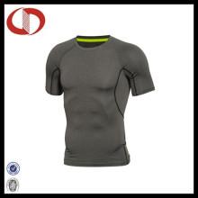 Camisa feita sob encomenda da ioga da compressão do desgaste da aptidão dos homens feitos