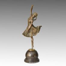 Bailarín Escultura de Bronce Señora de Barco Tallado Deco Latón Estatua TPE-313