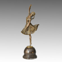 Dancer Bronze Sculpture Boat Lady Carving Deco Brass Statue TPE-313