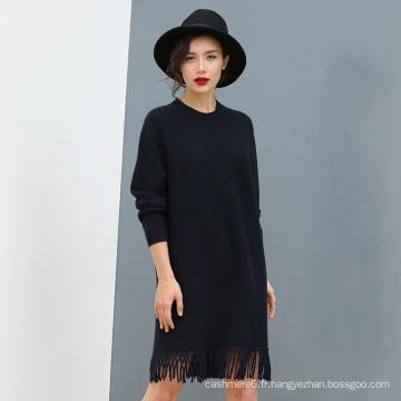 Lady's 100% Cashmere Sweater Lace Hem pour la vente en gros