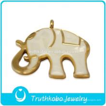 Colgante de elefante grande de acero inoxidable animal de alta calidad con pulido brillante de alta calidad 2014 con esmalte blanco y conchas rotas