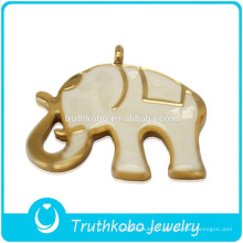 2014 haute qualité mode brillant polissage animal mignon en acier inoxydable grand pendentif éléphant avec émail blanc et coquilles brisées