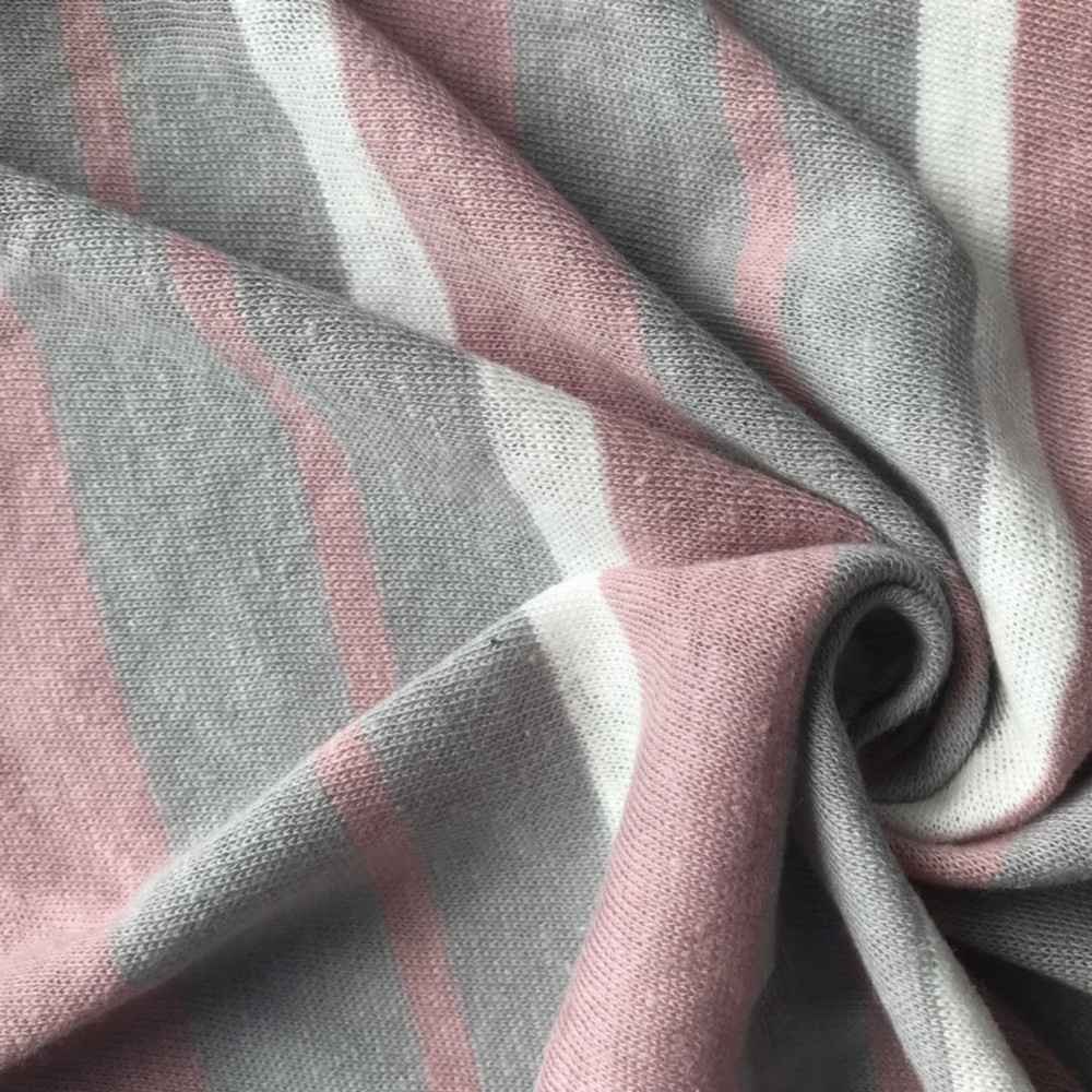 Pink stripe yarn dyed linen cotton fabric