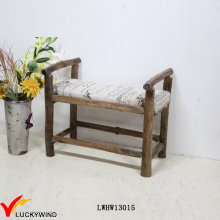 Solid Wooden Antique Small Upholstered Bench