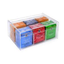 Acrylic 6 Section Tea Bag Box (Clear)