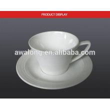 Glaze Bone China Eco-friendly Blank Weiße feine Keramik Milch Tasse und Untertasse