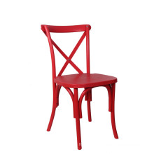 Red Color Cross Back Catering Dining Chair