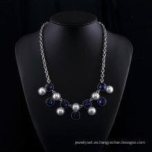 Sappire Crystal y Big Pearl Fashion Zinc Alloy Neckalce Set