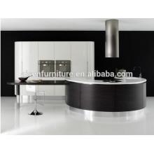 Chapa de madera mezclada de laca diseño de forma redonda gabinete de cocina de alta calidad