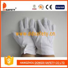 Guante de trabajo 100% Bleach Cotton o Interlock con Mini Dots en Palm Dch113