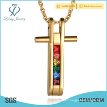 Crystal gold gay pride lovers pendant,stainless steel gold pendants