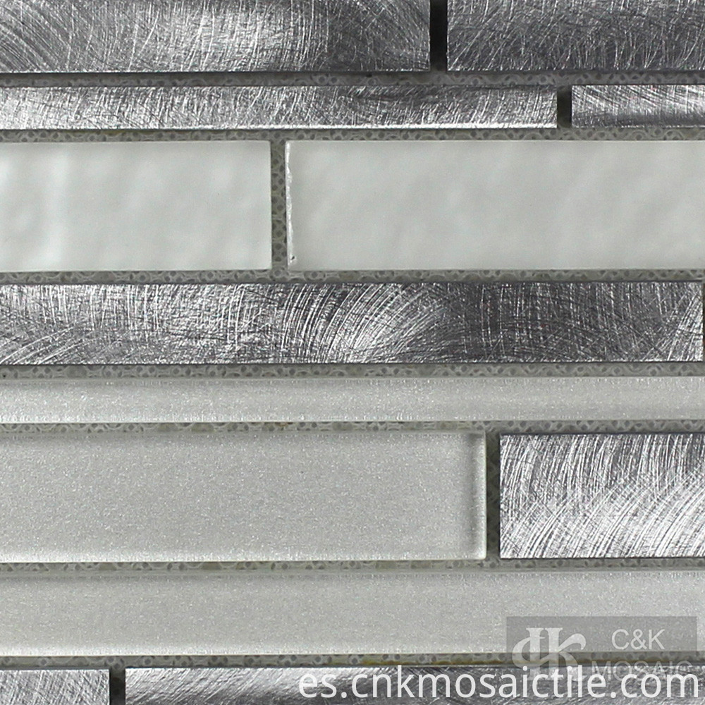 White Subway Tile With Glass Mosaic Accent