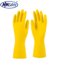 NMSAFETY Yellow flock lined household latex gloves for cleaning
