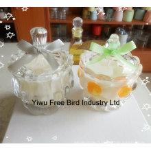 Conception attrayante pas cher en verre décoratif bocal bougie couronne impériale en forme