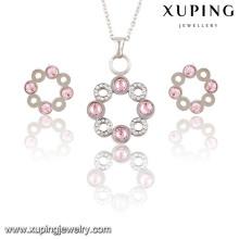 Moda elegante CZ Diamond círculos en forma de conjunto de joyas de rodio para niñas - 63796