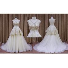 Vestido de noiva nupcial de renda cor champanhe