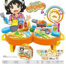 Brinquedo plástico do playhouse da loja para a tabela de jantar encantadora da cozinha