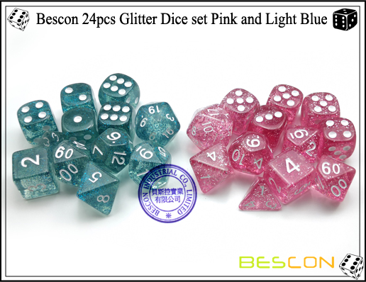 Bescon 24pcs Glitter Dice set Pink and Light Blue-8