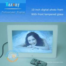 armação de foto digital de vidro temperado de 10 polegadas
