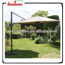 10ft Aluminium Hanging Offset Roma Outdoor Sonnenschirm, Aluminium Cantilever Regenschirm mit Basis