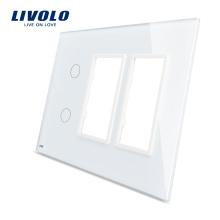 Livolo Белый 170мм * 125мм Стандарт США с тройным остеклением Стеклянная панель для настенного розетки с сенсорным переключателем VL-C5-C2 / SR / SR-11