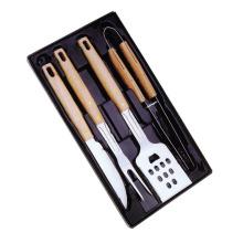 4 piezas de accesorios de barbacoa con mango de madera