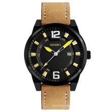 Men Elegant brown Leather quartz watch Luxury brand SKMEI 1221 Latest Stainless steel case back Japan movt analog Relojes hombre