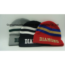 Embroidery Stripe Coloftul Jacquard Acrylic Knitting Hat Cap (ACEK0079)