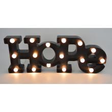 Letra de plástico de la esperanza con el LED para la decoración casera