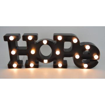 Hope Plastic Letter avec LED pour décoration intérieure