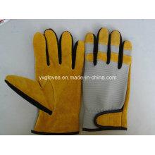 Guante de cuero-guante de seguridad-guante-guante de guante industrial-amarillo
