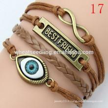 Bracelet cuir en cuir tressé New Arrival Owl LB20