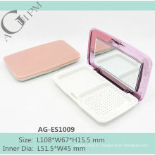 Rectangular Compact Powder Case/Compact Powder Container With Mirror AG-ES1009, AGPM Cosmetic Packaging , Custom colors/Logo
