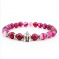 Fashion Charm Red Banded Agate Stone Bead Bracelet