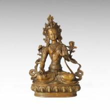 Estatua de Buda Tara blanco Escultura de bronce Tpfx-B62