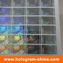 Anti-Fake 3D Laser Transparent Serial Number Hologram Sticker