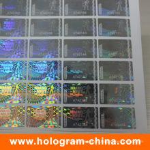 Безопасности лазерного 3D прозрачный серийный номер голограммы стикер
