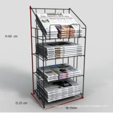 Custom design powder coating metal wire newspaper display stand