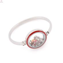 Мода 30мм плавающей очарование эмаль красный верхней грани стекла из нержавеющей стали медальон браслет
