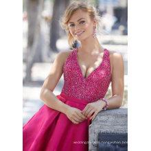 V Neck Beaded Satin Ballgown Prom Dress (42088)