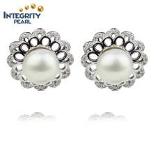 AAA 9mm botón de agua dulce de alta calidad de fantasía perla pendiente