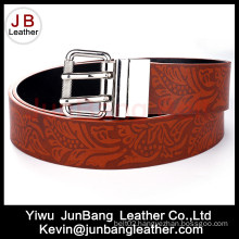 High Quality Fashion Brown Embossed Custom Printed Leather Belts