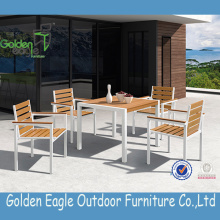 Plastic Wood Dining Table and Chairs