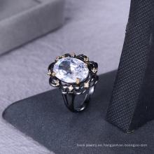 Suministros de joyería suministros de piedra blanca anillo de circonio joyas para mujeres